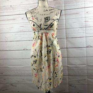 H&M floral adjustable straps size 6 side zipper